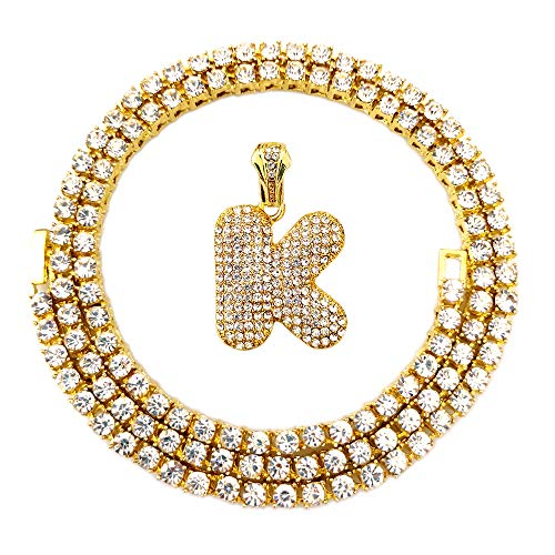 (HH Bling Empire Iced Out Hip Hop Gold Faux Diamond Bubble Dripping Letter Tennis Chain Necklace 20 Inch (Bubble Letter)