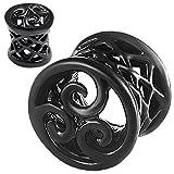 bodyjewellery 00g 00 gauge 10mm Black Double Flare Ear Large Gauge Plugs Flesh Tunnels AFXM Ear Stretchers Piercing BKT003