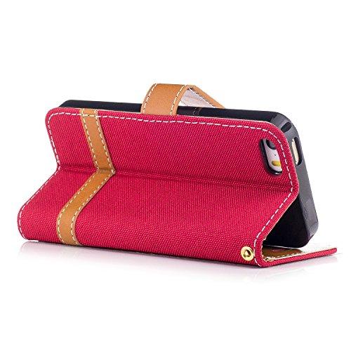 Funda para iPhone 5/5S/SE,MAGQI Cowboy Flip Billetera Carcasa [Estilo de Negocios] Función de Soporte Ranura para Tarjetas Cierre Magnético Parachoques Portátil Case - Azul Oscuro Rojo