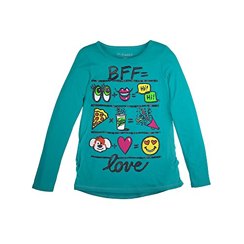Hanes Girl`s Graphic Shirred Sideseam Long Sleeve Tee, XL