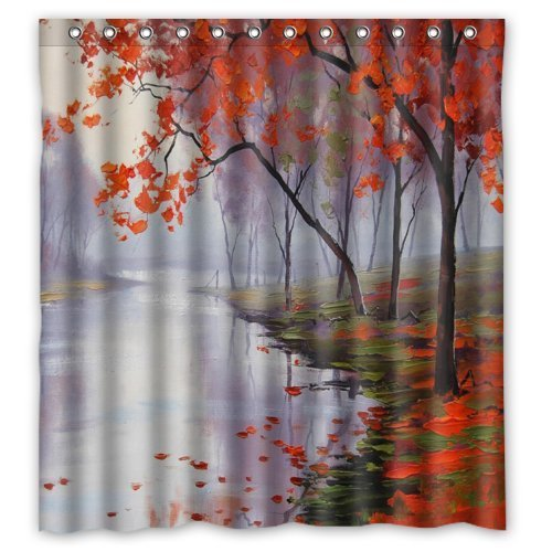 Amazing ACC Window Curtain Personalized Oil Painting Design Autumn Forest Red Leafs With New Polyester Fabric Top Thermal Insulated Reflect Sunlights 1 Panel 52