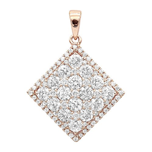 Designer Square Charms (Ladies 14K Rose, White or Yellow Gold Designer Diamond Square Pendant 2ctw G-H color (Rose Gold))
