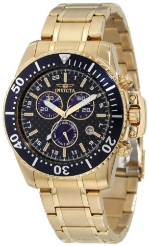 Invicta Men's 11288 Pro Diver Chronograph Black Carbon Fiber Dial 18k Gold Ion-Plated Stainless Steel Watch Bracelet