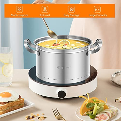 51Qi7z40EhS. AC COSTWAY 3-Tier Stainless Steel Steamer for Cooking, Boiler Pot with Handles on Both Sides, Transparent Tempered Glass Lid, Free Combination Design, for Induction, Radiant-Tube Furnace    Product Description