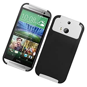 EagleCell Hybrid Nest Protective Skin Hard Case Cover for HTC One (M8) 2014 - Retail Packaging - White/Black
