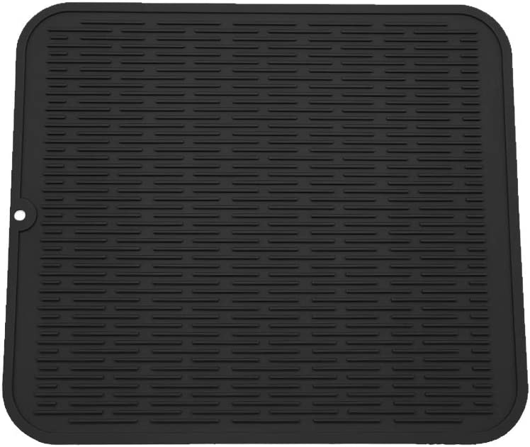 """ZLR Silicone Dish Drying Mat Easy Clean Dishwasher Safe Heat Resistant Eco-Friendly Trivet Black XL 16"""" X 18"""""""