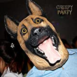 CreepyParty Novelty Halloween Party Latex Animal Dog Head Mask Sounding German Shepherd (Silent)