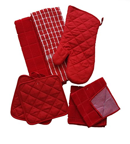 Towels 2 Kitchen Dish (The Spotted Moose Colorful Red and White 7 Piece Kitchen Linen Bundle With 2 Dish Towels, 2 Dish Cloths, 2 Potholders, and 1 Oven Mitt)