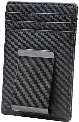 (Travelambo Money Clip Front Pocket Wallet Slim Minimalist Wallet RFID Blocking (01 carbon fiber)