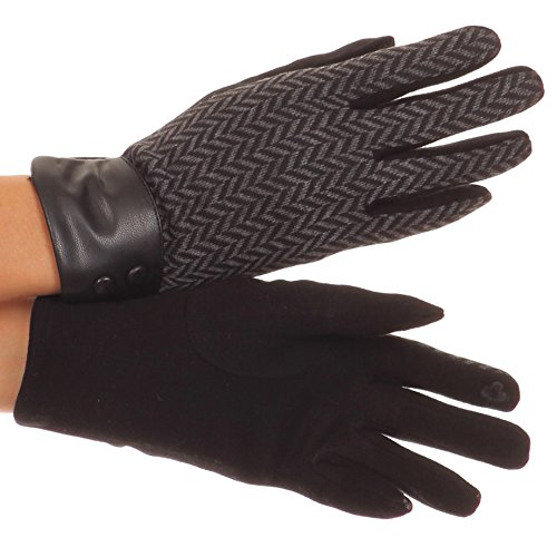 Leather Striped Glove (Sakkas CMZ1526 - Bronywn Warm Winter Wrist Length Chevron Pattern Touch Screen Gloves - Black - L)