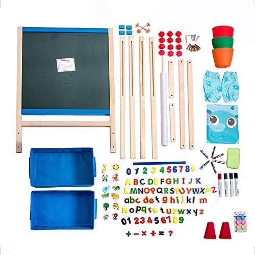 Kid's Art Easel With Adjustable Double-sided Magnetic Board, Paper Roll, Storage And Accessories, ERYOK Standing Art Easel For Kids, Toddlers (31-55.5 Inches)