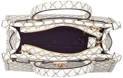 Tommy Hilfiger American Icon Mini Tote Net, Cabas femme, Weiß (Net Print), 12x20x23 cm (L x H P)