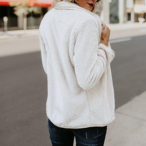 Chaud Semen Ouvert Cardigan Parka Femme Irregulier Pull Veste Polaire Longues Blanc Manteau Casual Outwear Tops Manches zzTxrywqAH