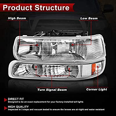AUTOSAVER88 Headlight Assembly Compatible with 99-02 Chevy Silverado 1500 2500/01-02 Chevy Silverado 1500HD 2500HD 3500/00-06 Tahoe Suburban 1500 2500 Headlamp with Bumper Lights: Automotive