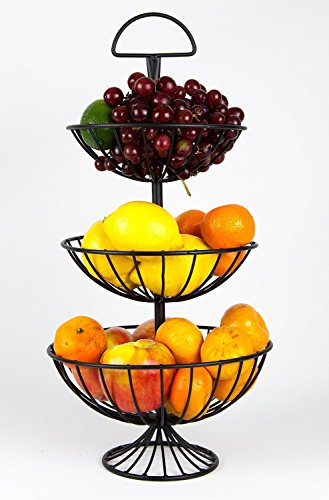 Three Basket Stand (Useful UH-FB177 3 Tier Decorative Wire Fruit Basket Countertop Stand (Black, Large))