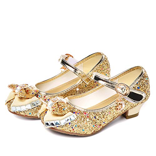Birthday Party Little Girl's Adorable Sparkle Mary Jane Side Bow Strap Low Heels Princess Dress Shoes(Golden 11M Little Kid)]()