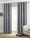 Alexandra Cole Thermal Insulated Balmoral Window Curtains Jacquard Drapes Set of 2 Panels 54 x 63 Inch Dark Grey