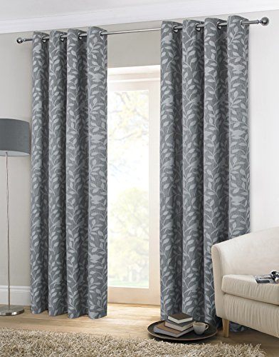 Alexandra Cole Thermal Insulated Balmoral Window Curtains Jacquard Drapes Set of 2 Panels 54 x 84 Inch Dark Grey