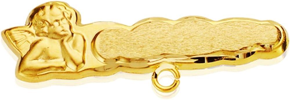 Alfiler bebé oro 18 ktes con angelito. Personalizable: GRABADO INCLUIDO.