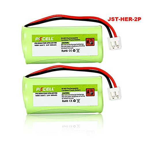 2PC 2.4V 600mAh AAA Cordless Home Phone Battery for BT166...