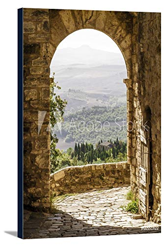 Tuscany, Italy - Old Arch with Landscape in Background - Photography A-92492 (16x24 Gallery Wrapped Stretched Canvas)