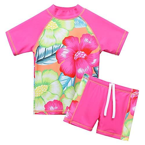 BAOHULU Girls Swimsuit Two Piece Tankini UPF 50+ UV Protective Rash Guard Set 3-12 Years (3-4Y(Tag.No 4A), GreenHotPink)