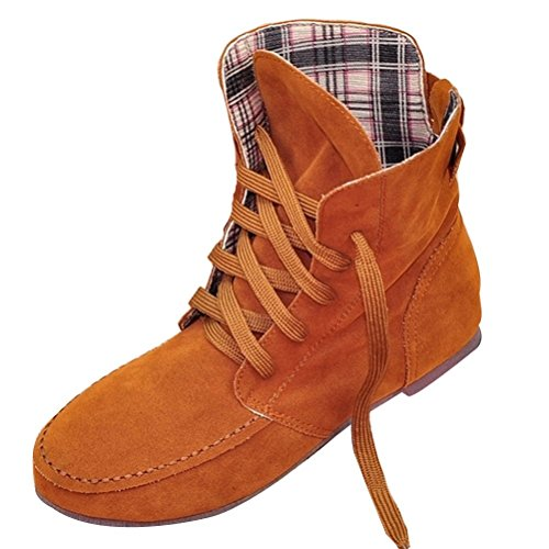 Leather Shoes Plaid (Maybest Women Autumn Casual Fashion Solid Color Flat Shoes Lace up Ancke Round Toe Flat Leather Martin Boots Camel Plaid 10 B (M) US)