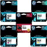 Genuine HP 564 Regular Capacity 5-Color Combo Pack- Black/ Black Photo/ Cyan/ Magenta/ Yellow, Office Central