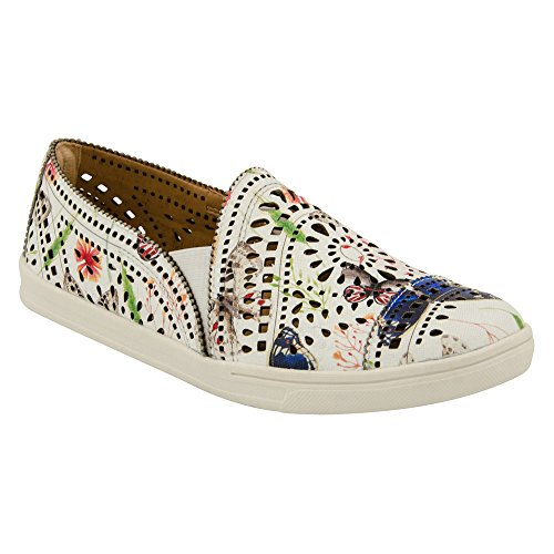 Earth Tangelo White Multi Printed Leather