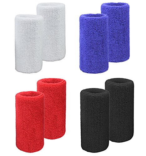 MAKLULU Double Terry Sweat Wristbands, 2 Ply Thickness Terry Cloth Moisture Wicking for Sports & Outdoors, 8PCS Colorful Pack - L01