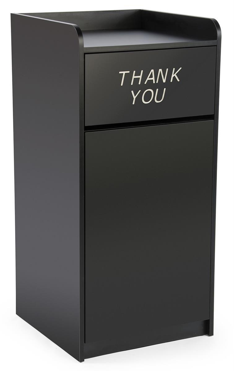 Displays2go 36 Gallon Restaurant Fast Food Trash Bin Receptacle with Door, Tray Holder (LCKDPZTRBK)