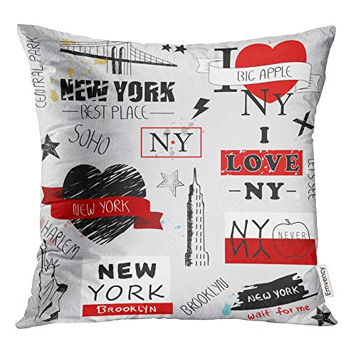 Emvency Throw Pillow Cover Print 20 x 20 Inch Square Zipper New York Slogan Gray for Site Label Placard and Creative Kids Painting Polyester Home Sofa Decorative Case