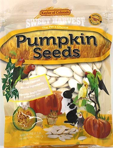 Sweet Harvest Pumpkin Seeds, 5 Oz Bag - Real Pumpkin Seeds for Birds and Small Animals - Rabbits, Hamsters, Guinea Pigs, Mice, Gerbils, Rats, Cockatiels, Parrots, Macaws, Conures