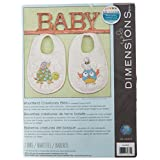 Dimensions Woodland Creatures Bibs Stamped Cross Stitch Kit (Set of 2)