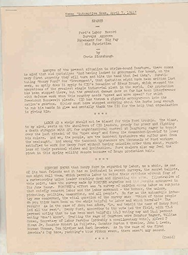 1941 Henry Ford Labor Record Printed News Article Letter Anti Union CIO (Union Printed)