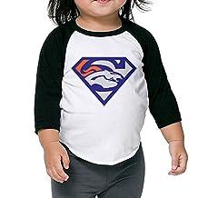 DENVER BRONCOS Superman Logo Kids 3/4 Raglan Baseball T Shirts