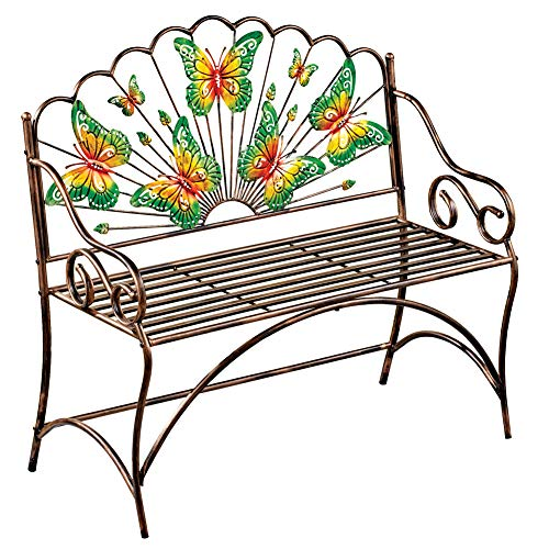 Collections Etc Colorful Butterfly Gardens Hand-Painted Bench with Scrolling Details, Outdoor Garden Decor – Made of Iron and Holds Up to 500 lbs