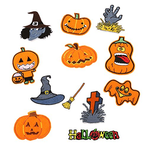 (Hwafan Mix 12PCS Halloween Pumpkin Decal Fabric Iron On Sew On Patches Embroidered Motif Badge DIY Decoration Applique for Jeans)