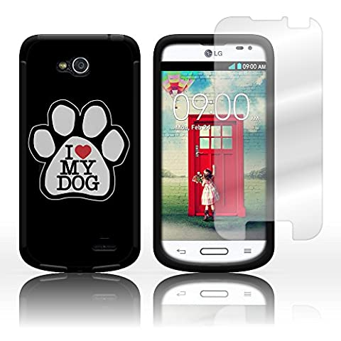 CoverON Hybrid TPU & Hard Plastic Dual Layer Case for LG Optimus L90 - Screen Protector Included Inside Package - Silver Dog Paw Hard Plastic Design Black (Lg D415 Phone Case For Girls)