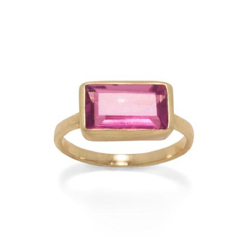 Gold Tone Pink Glass Rectangle Ring, Size 6