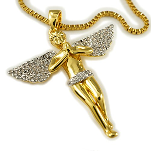 18k Gold, Silver, Black Gold, Rose Gold Praying ANGEL Pendant Piece with BOX chain (Gold/Rhodium)