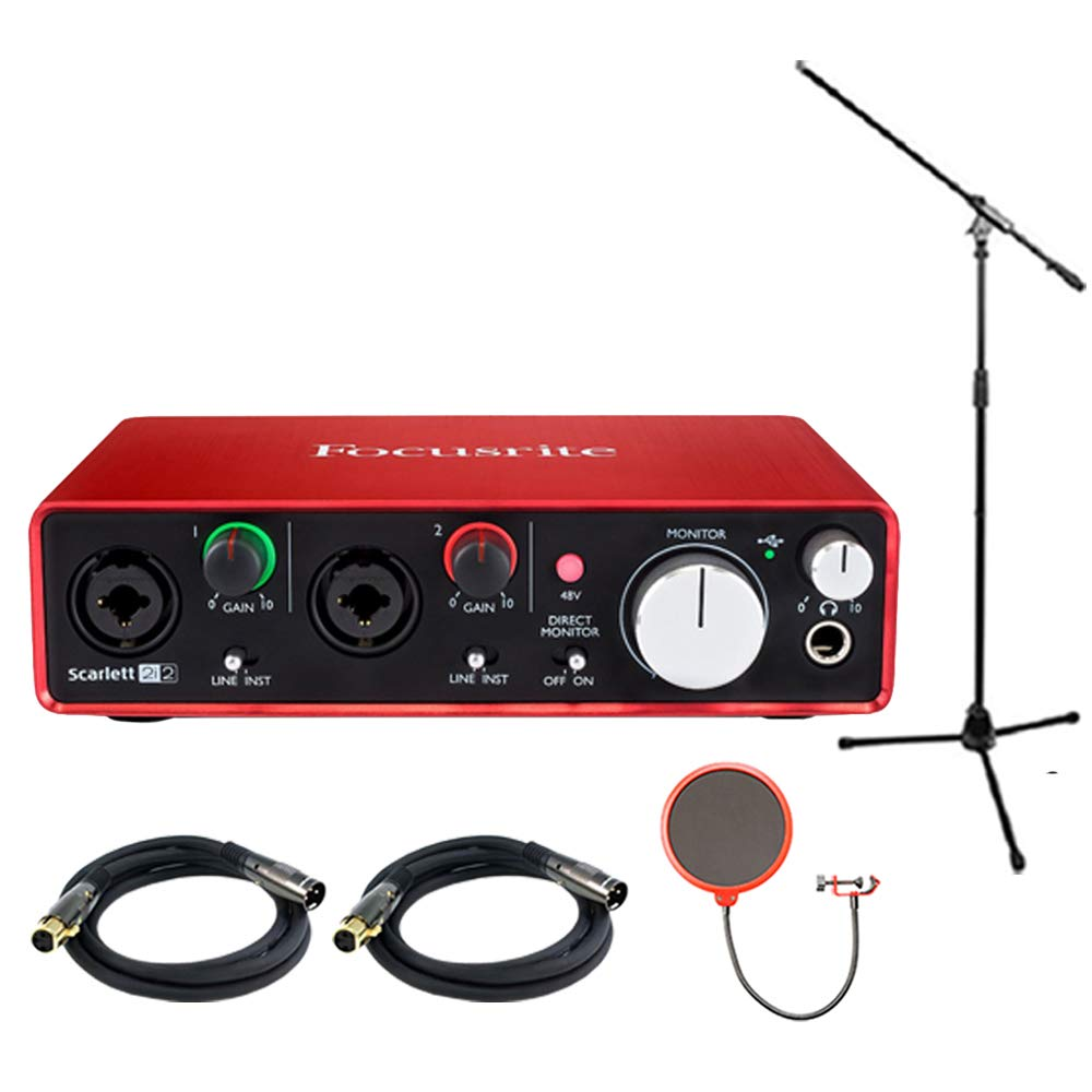 Focusrite Scarlett 2i2 USB Audio Interface (2nd Generation) Bundle includes Monoprice Tripod Stand with Boom, 2 XLR 10ft Cables and Pop Filter E1FCRSCAR2I2