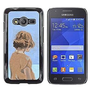 Shell-Star Arte & diseño plástico duro Fundas Cover Cubre Hard Case Cover para Samsung Galaxy Ace4 / Galaxy Ace 4 LTE / SM-G313F ( Watercolor Blue Orange Girl Deep Sad )