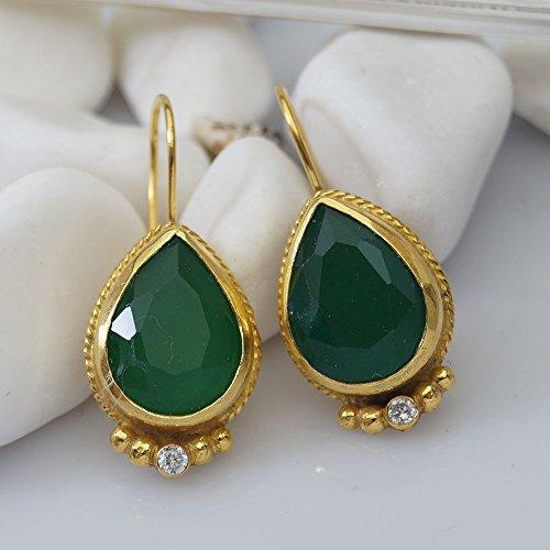 Sterling Silver Handmade Green Drop Topaz Earrings 24 k Yellow Gold Plated