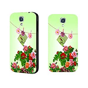 Vintage Floral Pattern Slim Fit Hard Plastic Cute Birds Print Samsung Galaxy S4 I9500 Case for Girls (pink daisy blacks1173)
