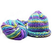 Celine lin Super Chunky Roving Big Warm Yarn for Hand Knitting Crochet,250g(8.8 Ounze),Multi-colored08