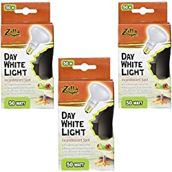 Zilla (3 Pack) Reptile Terrarium Heat Lamps Incandescent Bulb, White Spot, 50W