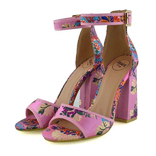 ESSEX GLAM Damen Blockabsatz Satin Knöchelriemchen Offene Zehen Sandalen Schuhe Rosa Blumen Satin
