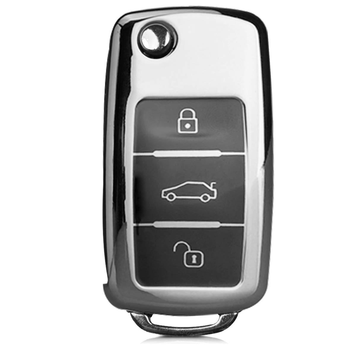 Carcasa con Botones para Llave del Coche Llave de 3 Botones para Coche VW Skoda Seat Azul Brillante kwmobile Funda para Mando de VW Skoda Seat