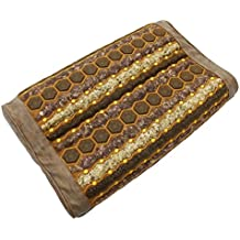 "Far Infrared Gemstone Pillow - Amethyst - Jade - Tourmaline - Natural Crystals - Negative Ions - FIR Heat - Non Electric - For Hot Stone Heating Pads - Better Sleep (20""L x 12""W x 4""H GENTLE, Tan)"